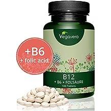 Vegavero Vitamina B12 Vegana | 1000mcg | LA ÚNICA CON B6 + ÁCIDO FÓLICO | Ganador