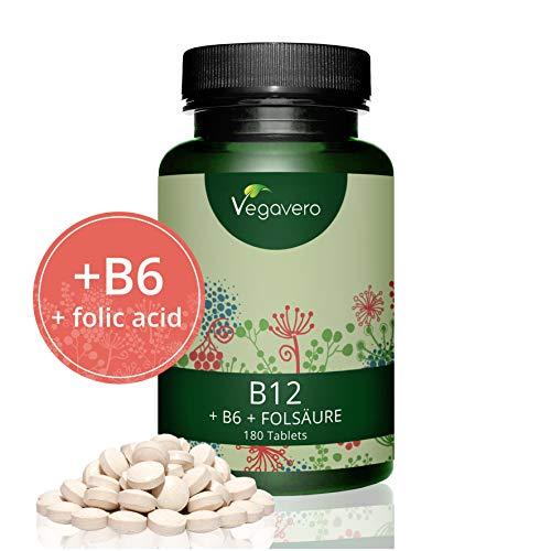 Vitamin B12 hochdosiert Vegavero | B6 und Folsäure | 1.000 µg Bio-Aktives Methylcobalamin | 180 Tabletten - 6 Monatsvorrat | OHNE Magnesiumstearat | Vegan und FREI von Zusatzstoffen