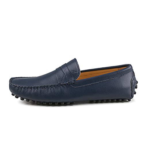 Shenduo - Mocassins pour homme cuir - Loafers confort - Chaussures de ville D7152 Bleu