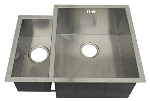1,5Platillos hecho a mano 10mm Radius Fácil de Limpiar esquinas Cocina Fregadero. Acero inoxidable cepillado fregadero bajo (ds034R)