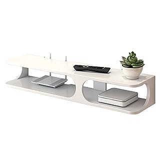 Shelf QIN HTZ Moderne Wand-montiert 2-Schicht Floating Regal TV-Konsole Für DVD-Player/Kabel-Box/Router / Fernbedienung/Spielkonsole A+ (Farbe : Weiß)