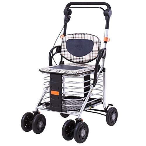 MUMU Aluminiumlegierung, Die Vierradwanderer Mit Armlehnen-gehendem Rahmen-älterer Reise-Einkaufswagen-Laufkatze-Pedal-gehender Wanderer-Laufkatze Faltet (Size : Aluminum) -