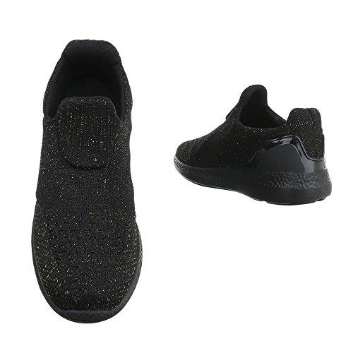 Damen Halbschuhe Schuhe Sportliche Slipper Flats Slip On Schwarz Gold Schwarz Grün Blau Orange Violett Rot Weiß 36 37 38 39 40 41 Schwarz