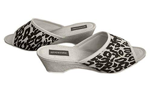 Aveente Damen Slipper mit kleinem Absatz, sexy, mit Federbüschel, erhältlich in verschiedenen Farben Beige/Panther