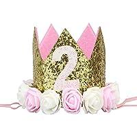 Zerama Partido de la Flor de la niña del cumpleaños del Muchacho Cap Diadema 1/2 1 2 3 Año Número recién Nacido Sombrero del cumpleaños