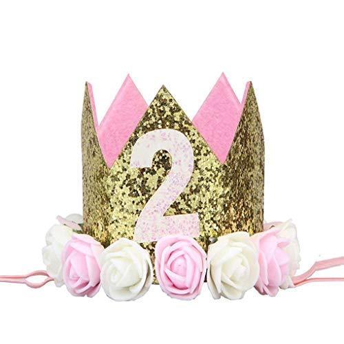 Timlatte Baby Girl Boy Birthday Flower Party Cap Headband 1/2 1 2 3 Year Number Newborn Birthday