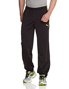 PUMA Herren Hose Spirit Poly Pants Zipped Leg Opening, Black/Blazing Yellow, S, 654041 66