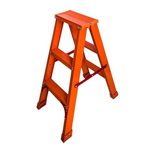 Tritthocker Trittleiter Klapptritt StufenHocker KleineLeiter Rutschfeste Füße | Faltbares Design Für Einfache Lagerung -150KG Maximale Kapazität ZHANGQIANG (Farbe : Orange, größe : Three Steps)
