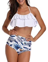 80893765aeaa9 TEERFU Womens Swimwear High Waisted Padded Halter Beach Bathing Suits  Bikini Set