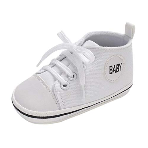 Voberry@ Voberry@ Unisex-Baby Cute Denim Lace Up Sneakers Soft Sole High-Top Infant First Walker Shoes