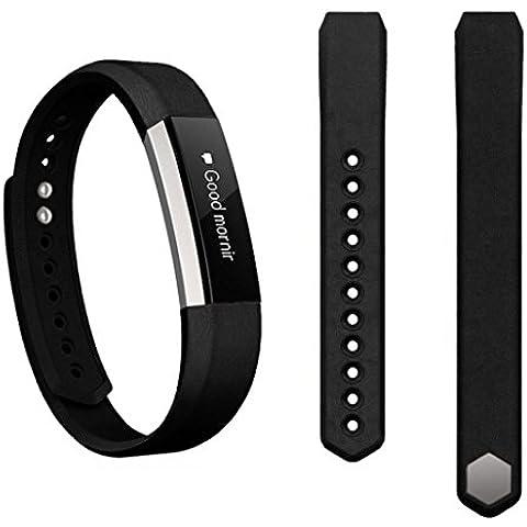 Amlaiworld Venda de la correa de cuero genuino para el Fitbit perseguidor Alta (Negro)