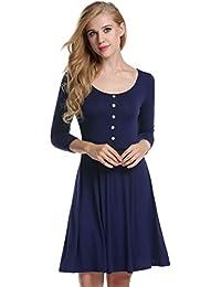 Zeagoo Damen Skaterkleid Jerseykleid A Linie Rundhals 3 4 Arm Basic Stretch  Kleid Freizeitkleid Sommerkleider… fd48fdb3d3