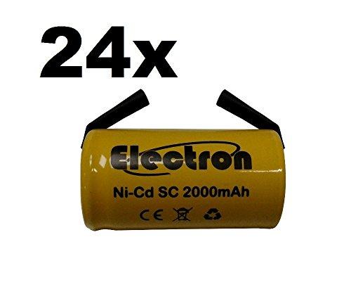 24 X Batteria Pila SC 2000mAh 2.0Ah Ni-Cd 1,2V con lamelle a saldare per pacchi batterie trapani torce allarmi