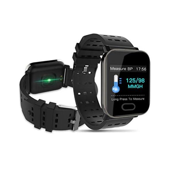 Pulsera inteligente con monitor de actividad física, pantalla de color A6, Bluetooth, monitor de ritmo cardíaco, podómetro, pulsera inteligente para niños, mujeres y hombres azul 3