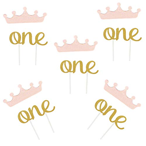 YeahiBaby Papier Rosa Kronen und 20 Stück Glittle Gold One Cake Top 1. Ersten Geburtstagskuchen Topper 20pcs