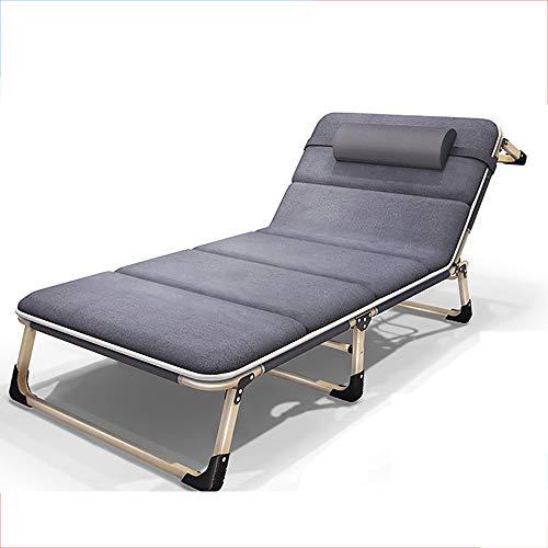 JB-deckchair Klappbett Mit Kissen Verbreitert Single Lounge Sofa Lounge-Sessel Büro Nickerchen Im Freien Tragbare Campingbett Einfache Begleitbett, Last 150kg (Farbe : Gray, größe : B)
