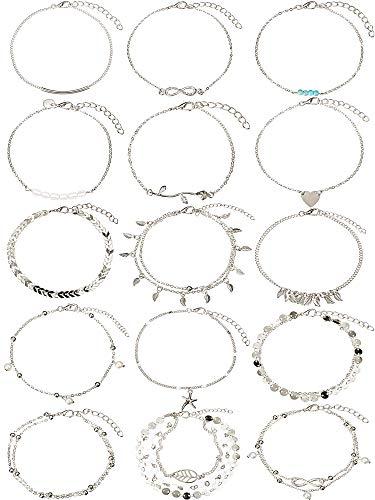 kettchen Ketten Armbänder Einstellbar Strand Fußkettchen Fußschmuck Set für Damen Mädchen (Silber) ()