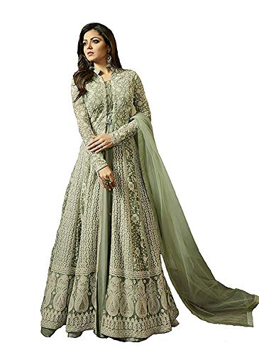 Women\'s Latest Light Green Net Embroidered Festival Wear Wedding wear Party wear Traditional Anarkali Salwar Suit Dress Materials
