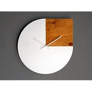 42cm Inspiriert vom zitat von Andy Warhol große hölzerne leise wanduhr für küche in vielen farben wie weiß und helle…