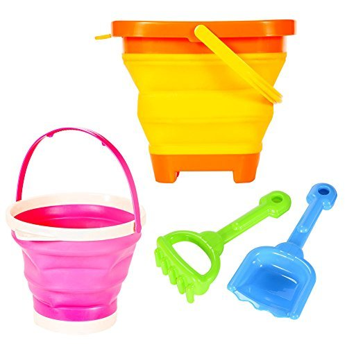 Beach-Toy-Set-2-Packable-Pails-Collapsible-Buckets-With-1-Shovel-And-1-Rake-Orange-Pink-Summer-Beach-Party-Play-Set