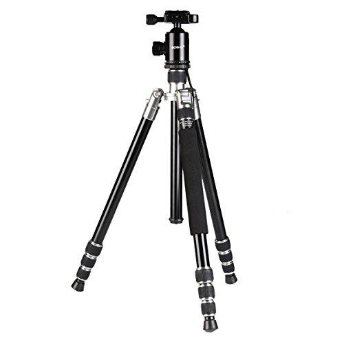 Beschoi Treppiede Fotografico Professionale Pieghevole in Lega di Alluminio Magnesio con 4 Pezzi Centre Colonne 360 Gradi Testa a Sfera 12KG Capienza del Carico per DV Digitali Fotocamere SLR Canon Nikon Sony Pentax