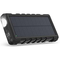 Chargeur Solaire Portable RAVPower 25000mAh avec Entrées Micro-USB & Type-C, Batterie Externe avec Trois Sorties & Lampe Torche, Antichocs & Étanche Compatible avec iPhone, iPad, Galaxy, Android, etc.