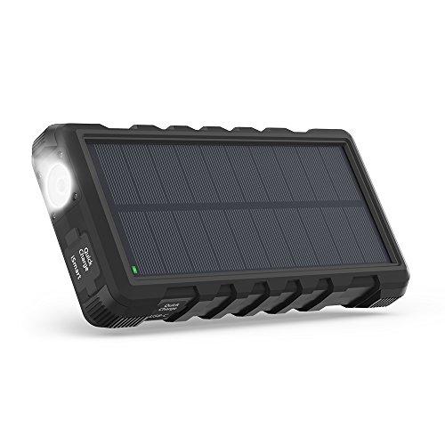 RAVPower Solarladegerät QC 3.0 25000mAh Powerbank Outdoor Tragbares Externer Akku mit Micro-USB und Typ-C-Anschlüssen, Schnellladende 3 Ausgängen, mit Taschenlampe, Staubstoß- & Wassergeschützt -
