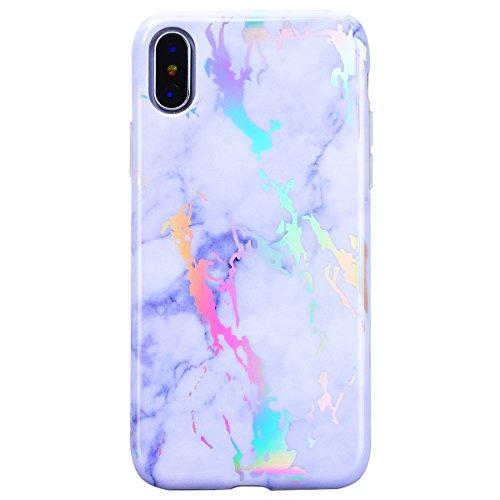 WE LOVE CASE iPhone X Hülle Marmor Weiß iPhone X / 10 Hülle Silikon Weich Marble Handyhülle Tasche für Mädchen Elegant Backcover , Soft TPU Flexibel Case Handycover Stoßfest Bumper , Ultra Dünn Schale White
