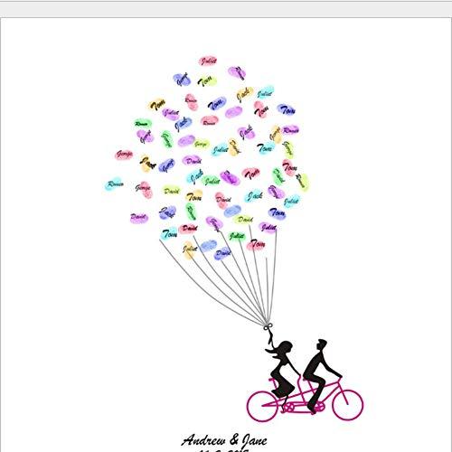 PANDABOOM DIY Hochzeit Paar Fahrrad Leinwand Fingerabdruck Teilnahme Zeichnen Zeichen Dekorative Malerei Tapete Ornamente Gast Unterschrift Bücher Beste Souvenir Ohne Rahmen 50X70cm - Hochzeit Fahrrad