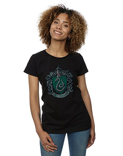HARRY POTTER Damen Slytherin Distressed Crest T-Shirt Small Schwarz