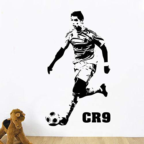 jiushizq Fai da Te Home Decor Sports Footballer Wall Stickers PVC Vinile Rimovibile Art Mural Football Dribbling Nero L 99X58 CM