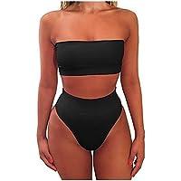 A-goo Verano más colores y top de tubo de tamaño dividen dos conjuntos de trajes de baño de damas (Negro S)