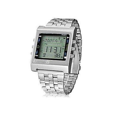 Fenkoo Herren Sportuhr digital Fernbedienung Edelstahl Band Armbanduhr Silber