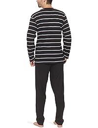 Herren Schlafanzug mit V-Ausschnitt und Streifen-Design - Moonline