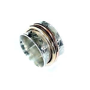 925er Silberring, massiv Drehring, Spinner, Gr.17 Handarbeit