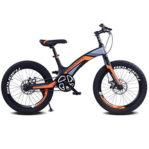 FJW Bicicleta de montaña Unisex, 20 Pulgadas Marco de aleación de magnesio, Velocidad única Bicicleta Doble del Freno de Disco para Estudiante/niño/Ciudad de cercanías,Orange