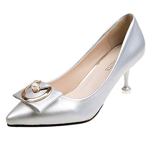 B-commerce Mode Damen Schuhe - Pumps Mittlere Fersen Mit Einzelnen Schuhen Spitz Niedrige Dünne Fersen Für Party Büroschuh