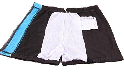 KUWOMINI.Zippers Taschen Männer Schnell Trocken Flach Badehose Art Und Weise Heiße Quellen Hosen Schwimmen Black