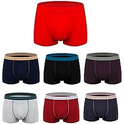 Snone Lot de 7 Boxer Homme Grande Taille Boxers en Coton Respirant Caleçons sous vêtements sans Couture Shorty Homme Printemps/Eté XL-6XL