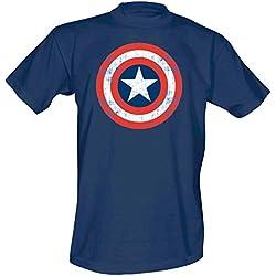 Capitán América - camiseta con el escudo - cómic de Marvel - estampado grande y de calidad - azul - S