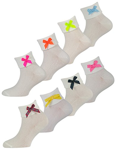 3 Pairs of Girls White Cotton Socks with Bows - UK Made