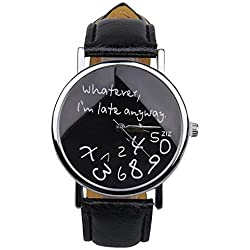 "WANGSCANIS® ""Whatever, I'm late anyway"" Women's Fashion Analog Digital Quartz Birthday Gift Faux Leather Wristwatch Black 2"