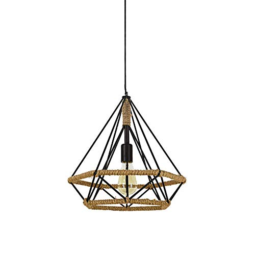 GJR-L Vintage Diamond Hanf Rope Chandelier, E27 Chandelier Retro Industrial Black Chandelier Restaurant Kitchen-38 cm