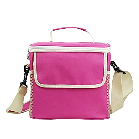 Eizur Freezable Lunch Bags Insulated Cool Shoulder Bag Lunchbox Container Picnic Cooler Snack Tote Bag Travel Zipper Organizer Hand Bag with Adjustable Shoulder Strap Long Lasting Keep Warm or Hold Cool (Pink / Light Blue / Rose / Yellow / Dark Blue / Purple)