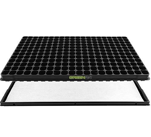 GREEN24 Anzucht-Set 240-PRO - Automatische Bewässerung. Anzuchtplatte mit 240 Töpfen + Wasserwanne + Kapillarmatte für Anzucht von Saatgut und Stecklingen - Anzuchtschalen/Anzuchtkasten