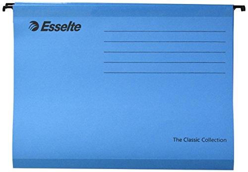 Esselte Carpeta colgante, Tamaño A4, Cartón kraft reciclado, Visor de plástico transparente, Azul, Classic, 90311, Caja de 25