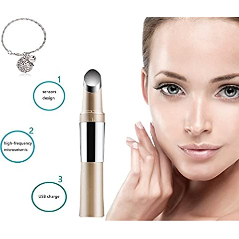 [Nuova versione] BuydalyBeauty USB ricaricabile bellezza strumento occhio massaggi Stick occhi rughe rimozione penna occhio nero massaggio strumento vibrazione bellezza