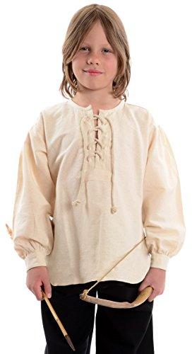Mittelalterhemd naturbeige Kinder-Schnürhemd Piraten-Hemd XL
