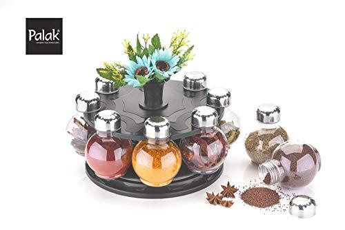 PALAK Multipurpose 8 Piece Condiment Revolving Plastic Spice Rack Set   Metallic Siver Finish Medium