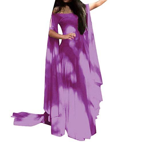 GODDOIT Damen Mittelalter Langarm Kleid - Retro Renaissance Viktorianisch Kostüm Langes Kleider mit Ausgestellte Ärmel für Halloween Party - Kostüm D'halloween Indienne
